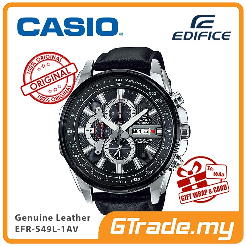 CASIO EDIFICE EFR-549L-1AV Chronograph Watch | Large Genuine Leather