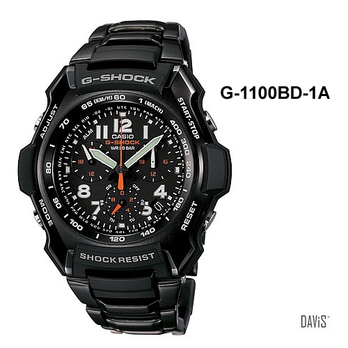 CASIO G-1100BD-1A G-SHOCK Aircraft Motif Pilot watch SS bracelet black