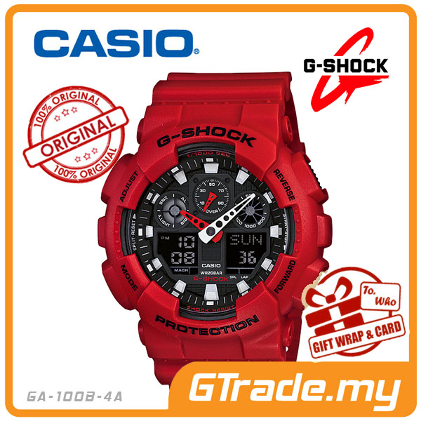 CASIO G-SHOCK GA-100B-4A Analog Digital Watch | Alarm 3 Dials