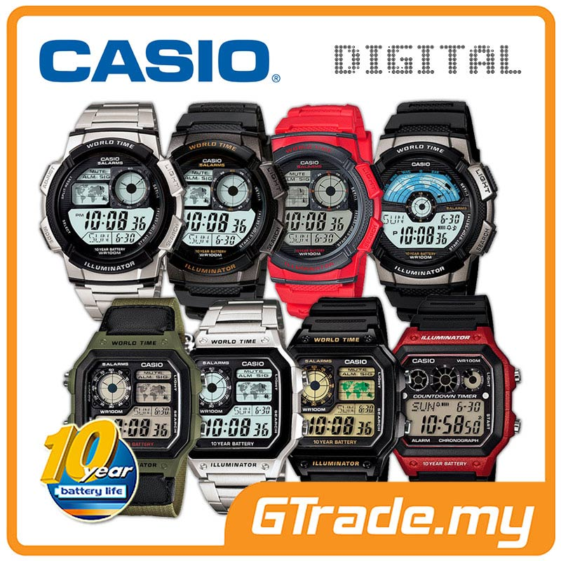 CASIO MEN DIGITAL WATCH | AE-1000 Series 10 Years Battery Life 100WR
