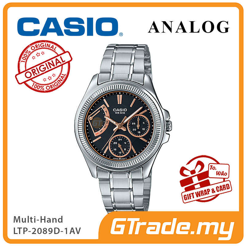 CASIO MULTI-HANDS LTP-2089D-1AV Ladies Watch | 50 Meter Water Resist