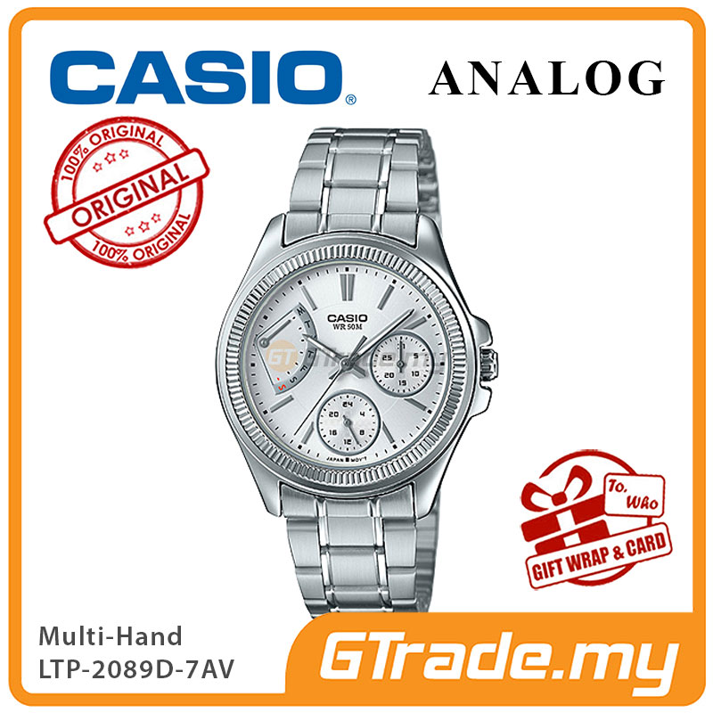 CASIO MULTI-HANDS LTP-2089D-7AV Ladies Watch | 50 Meter Water Resist