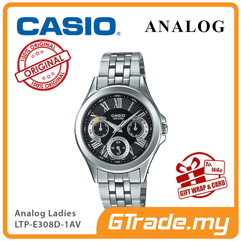 CASIO MULTI-HANDS LTP-E308D-1AV Ladies Watch | 24Hr Day Date Indicator