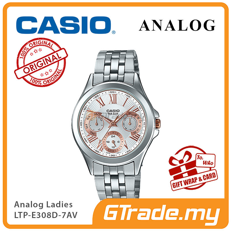 CASIO MULTI-HANDS LTP-E308D-7AV Ladies Watch | 24Hr Day Date Indicator