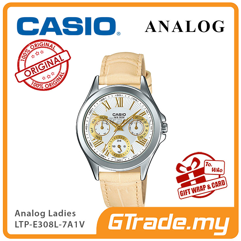 CASIO MULTI-HANDS LTP-E308L-7A1V Ladies Watch |24Hr Day Date Indicator