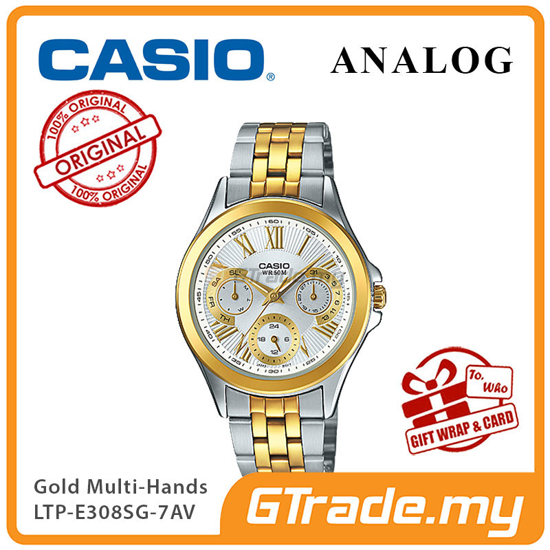 CASIO MULTI-HANDS LTP-E308SG-7AV Ladies Watch |24Hr Day Date Indicator