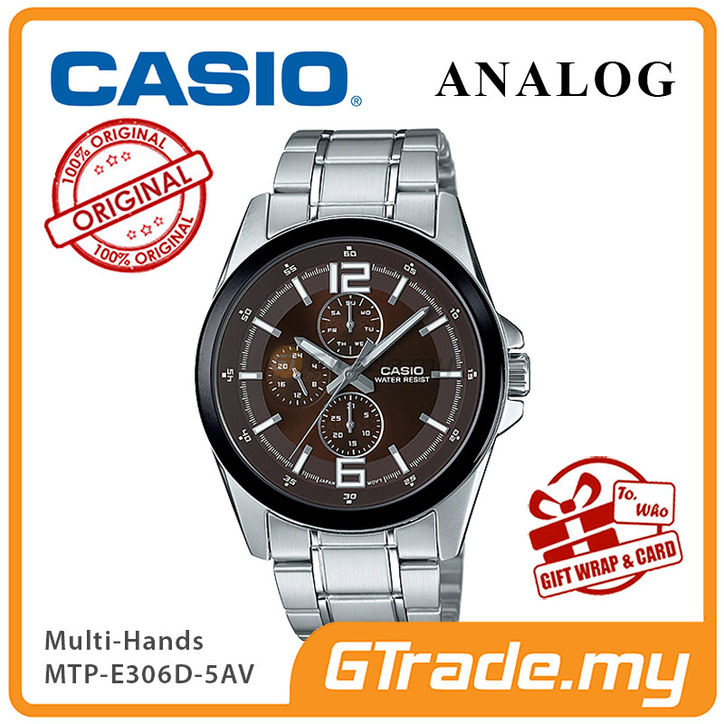 CASIO MULTI-HANDS MTP-E306D-5AV Men Watch | Day Date 24 Hours Display