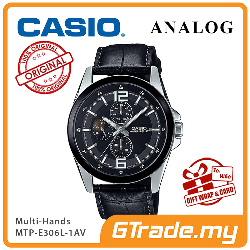 CASIO MULTI-HANDS MTP-E306L-1AV Men Watch | Day Date 24 Hours Display