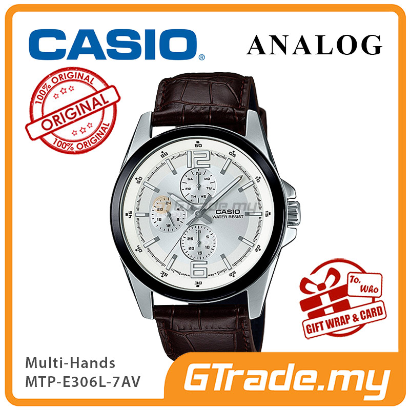 CASIO MULTI-HANDS MTP-E306L-7AV Men Watch | Day Date 24 Hours Display
