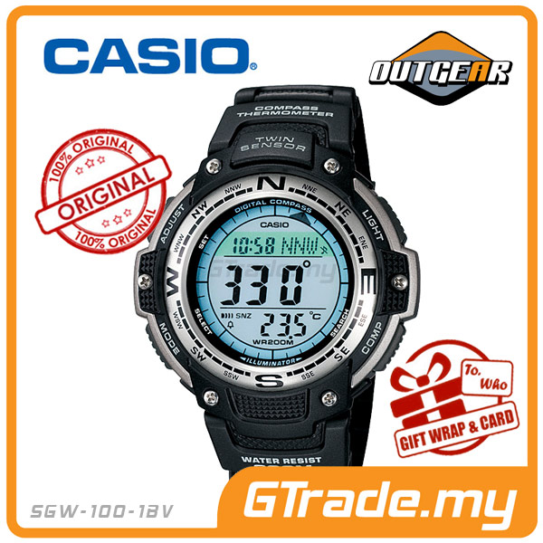 CASIO OUTGEAR SGW-100-1V Sport Gear Watch | Compass Thermo.