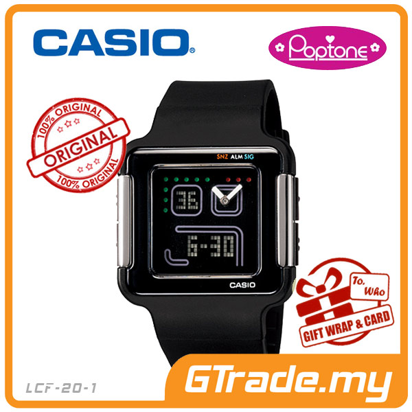 CASIO POPTONE LCF-20-1DR Analog Digital Watch | Youth Colorful Design
