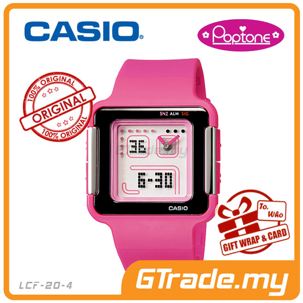 CASIO POPTONE LCF-20-4DR Analog Digital Watch | Youth Colorful Design