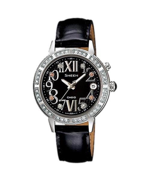 CASIO SHEEN SHE-4031L-1A ILLUMINATION(LED LIGHT) & BLACK LEATHER STRAP