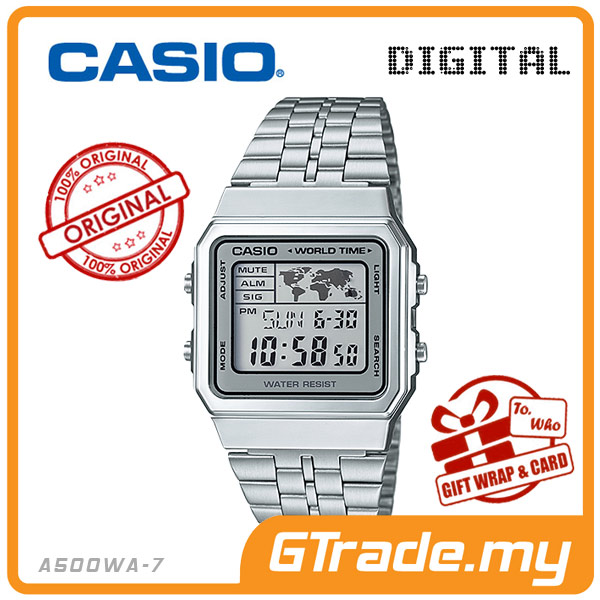 CASIO STANDARD A500WA-7 Digital Watch | Vintage Alarm World Map
