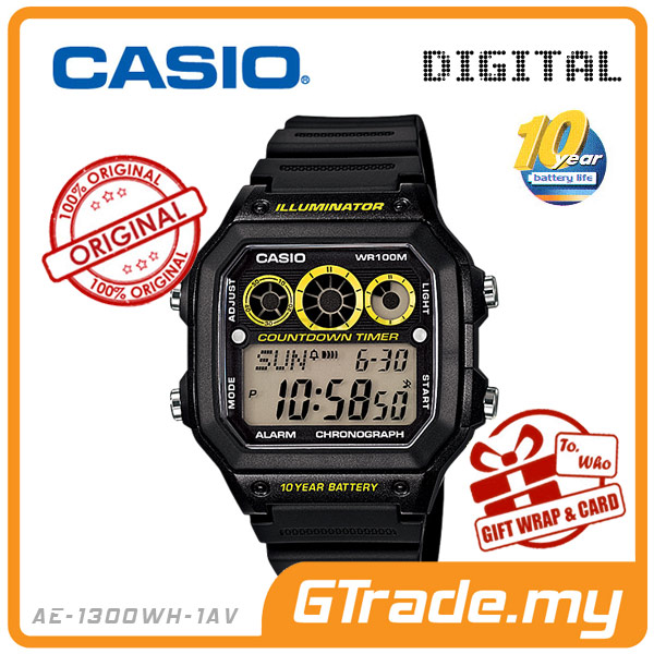CASIO STANDARD AE-1300WH-1AV Digital Watch | 10Y Bat80t. Interval.T