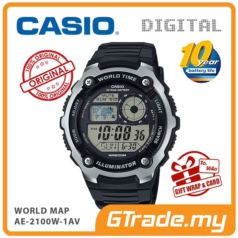 CASIO STANDARD AE-2100W-1AV Digital Watch | World Map 10 Years Batt.