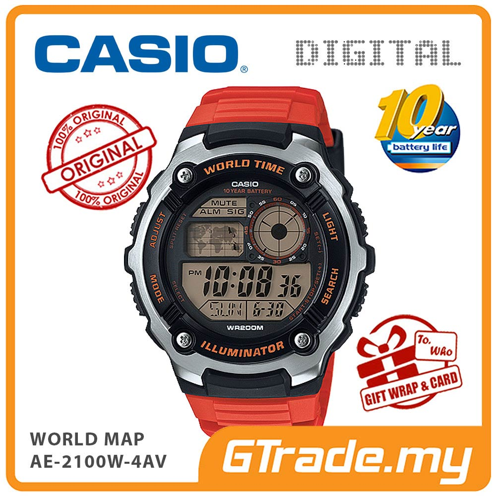 CASIO STANDARD AE-2100W-4AV Digital Watch | World Map 10 Years Batt.