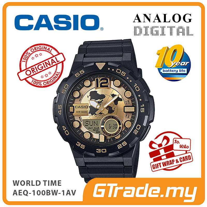 CASIO STANDARD AEQ-100BW-9AV Analog Digital Watch | World Time Map