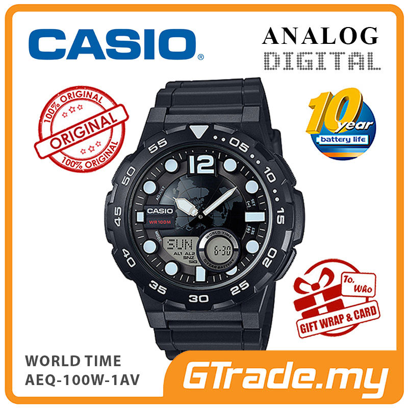 CASIO STANDARD AEQ-100W-1AV Analog Digital Watch | World Time Map
