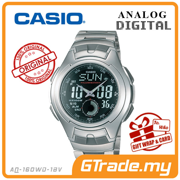 CASIO STANDARD AQ-160WD-1BV Analog Digital Watch | Full Face LCD