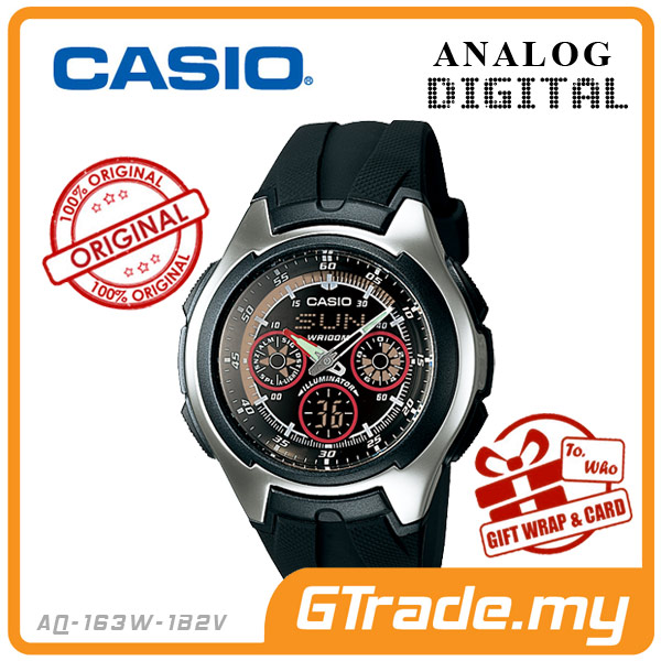 CASIO STANDARD AQ-163W-1B2V Analog Digital Watch | Active Dial Alarm
