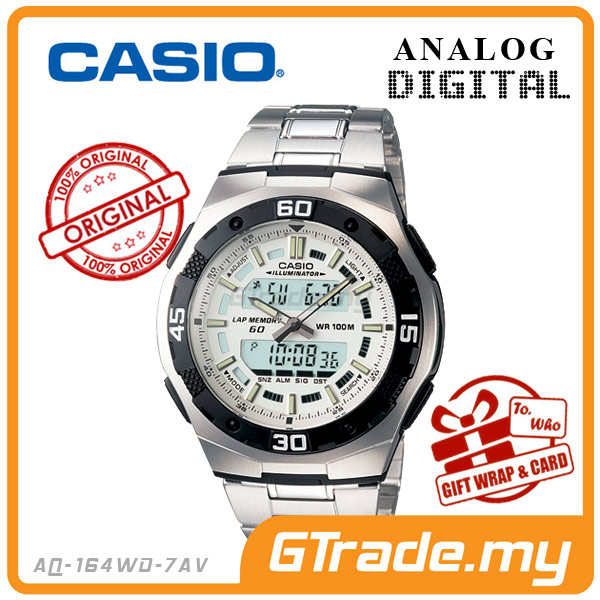 CASIO STANDARD AQ-164WD-7AV Analog Digital Watch | Full LCD Alarm
