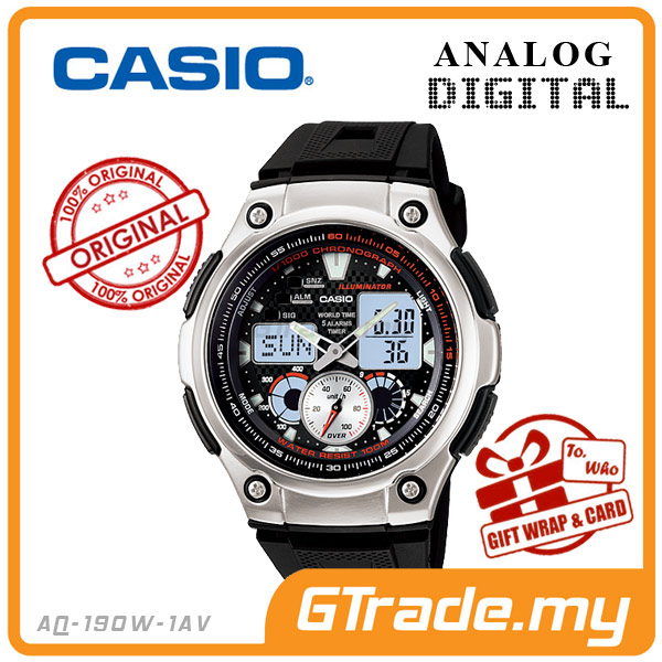 CASIO STANDARD AQ-190W-1AV Analog Digital Watch | Wolrd Time Stopwatch