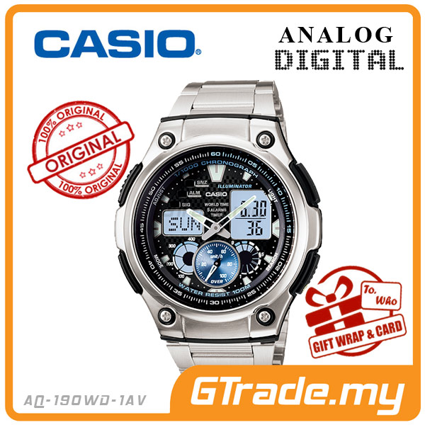 CASIO STANDARD AQ-190WD-1AV Analog Digital Watch Wolrd Time Stopwatch