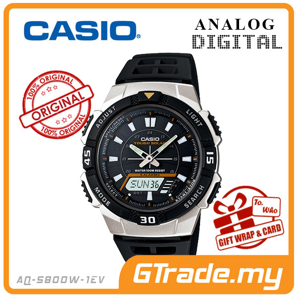CASIO STANDARD AQ-S800W-1EV Analog Digital Watch | Sporty Tough Solar