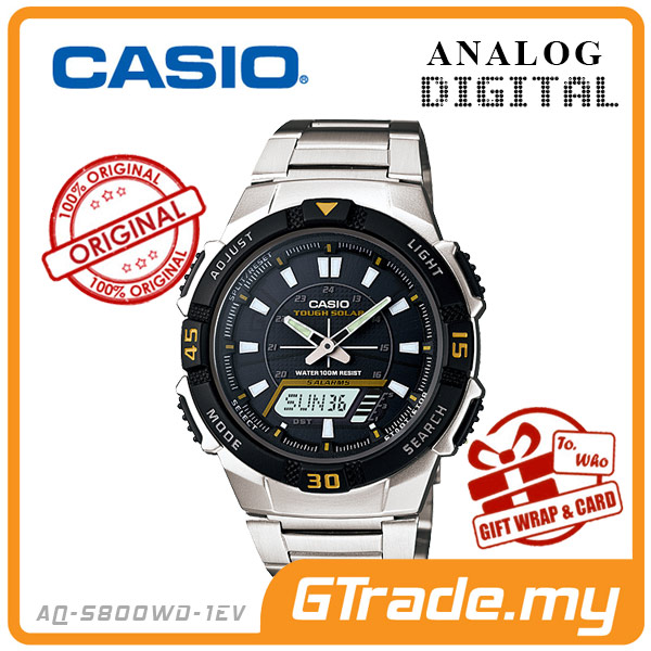 CASIO STANDARD AQ-S800WD-1EV Analog Digital Watch | Sporty Tough Solar