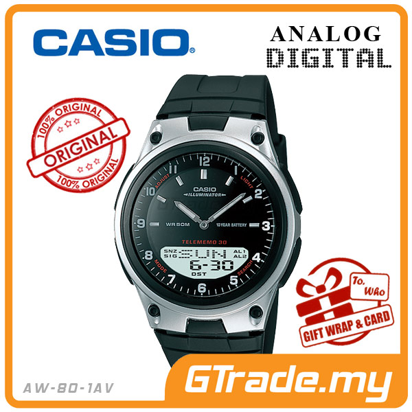 CASIO STANDARD AW-80-1AV Analog Digital Watch | Wolrd Time 10Yrs Batt