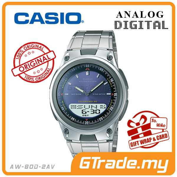 CASIO STANDARD AW-80D-2AV Analog Digital Watch | Wolrd Time 10Yrs Batt
