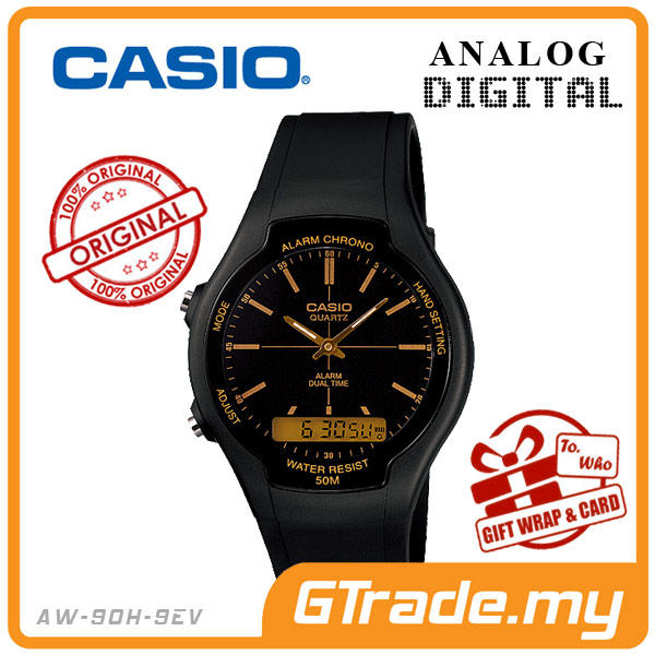 CASIO STANDARD AW-90H-9EV Analog Digital Watch | Dual Time 50m WR