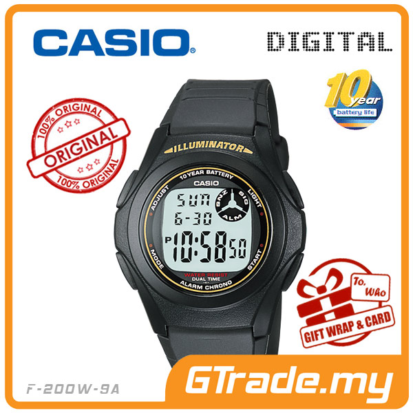 CASIO STANDARD F-200W-9A Digital Watch | Classic Simple Young Design