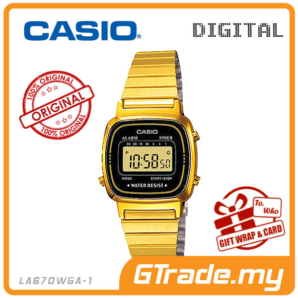 CASIO STANDARD LA670WGA-1 Digital Ladies Watch | Gold Retro Alarm