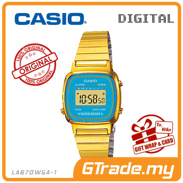 CASIO STANDARD LA670WGA-2 Digital Ladies Watch | Gold Retro Alarm