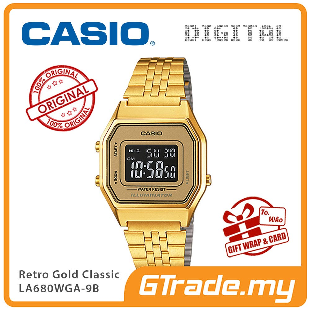 CASIO STANDARD LA680WGA-9B Digital Ladies Watch | Retro Gold Design