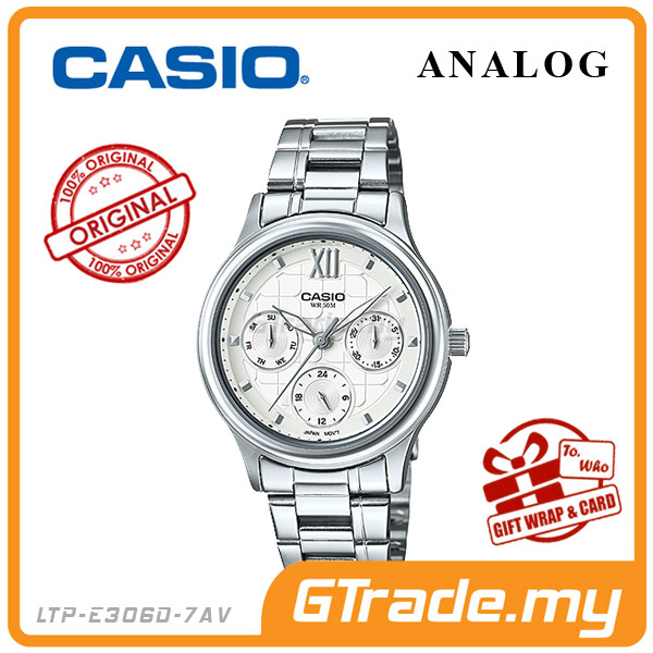 CASIO STANDARD LTP-E306D-7AV Analog Ladies Watch | Day Date Display