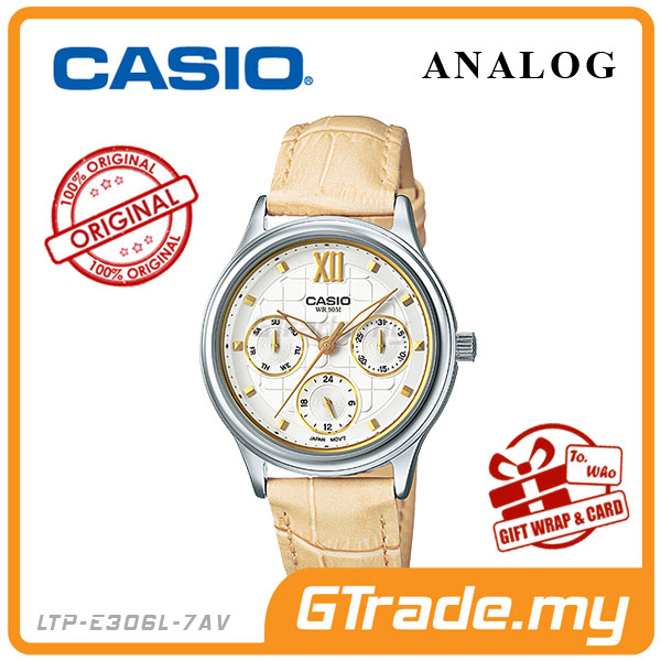 CASIO STANDARD LTP-E306L-7AV Analog Ladies Watch | Yellow Gold Design