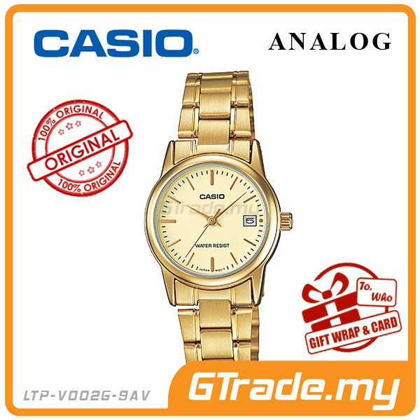 CASIO STANDARD LTP-V002G-9AV Analog Ladies Watch | Date Display WR