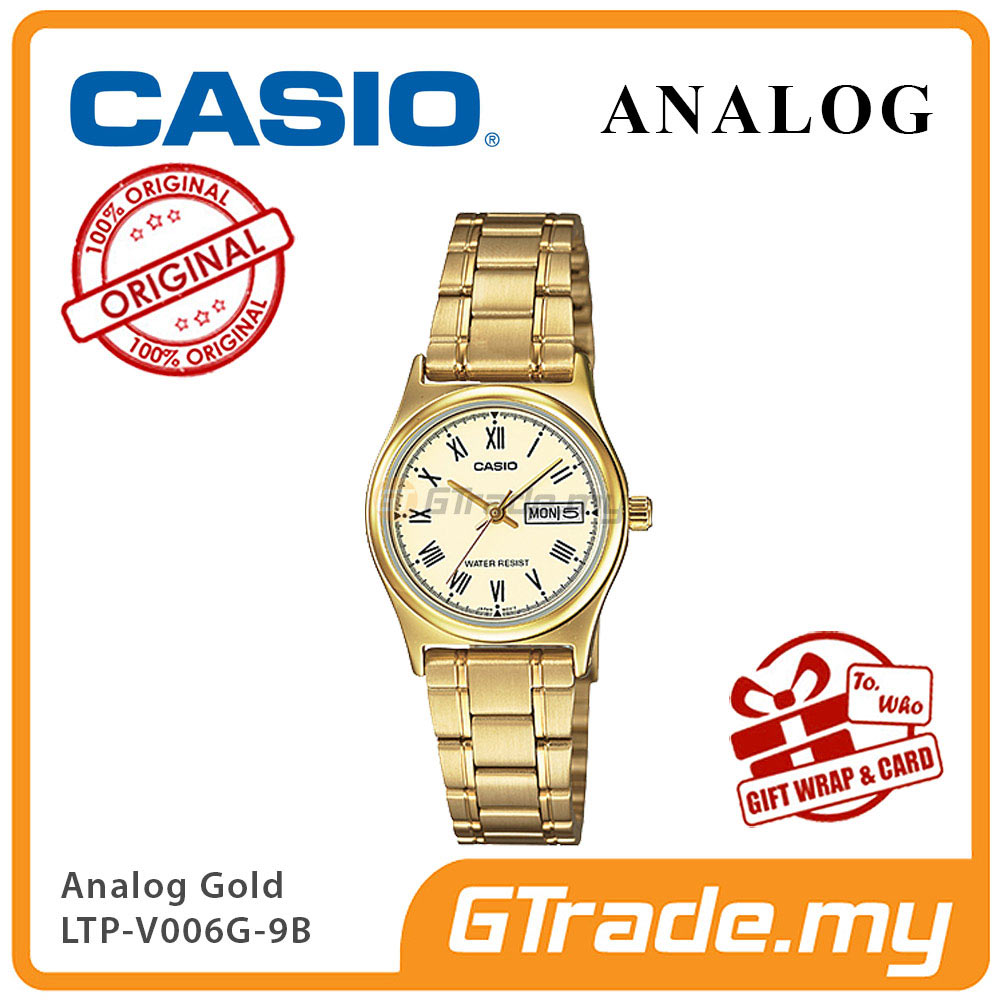CASIO STANDARD LTP-V006G-9BV Analog Ladies Watch Gold Day Date Display