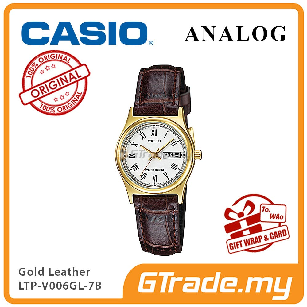 CASIO STANDARD LTP-V006GL-7BV Analog Ladies Watch | Gold Case Leather