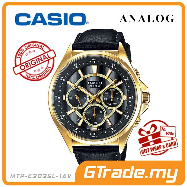 CASIO STANDARD MTP-E303GL-1AV Analog Mens Watch Day Date 24Hrs Display
