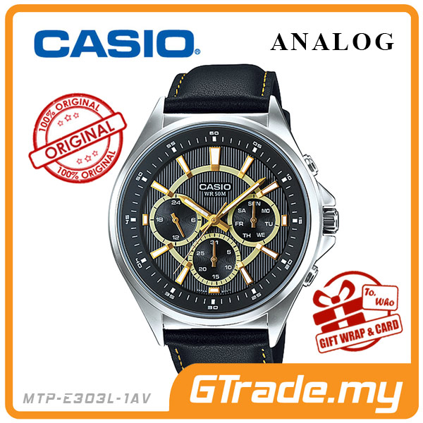 CASIO STANDARD MTP-E303L-1AV Analog Mens Watch Day Date 24Hrs Display