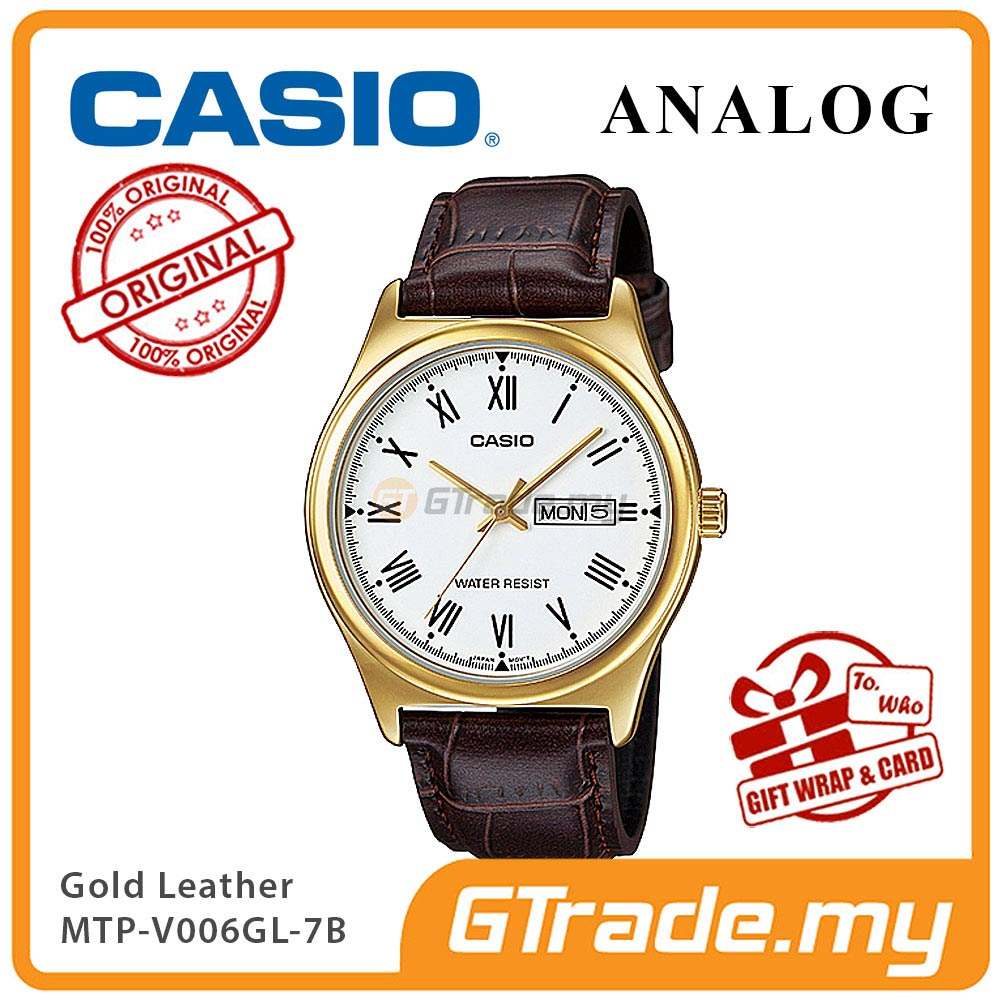 CASIO STANDARD MTP-V006GL-7BV Analog Mens Watch | Gold Case Leather
