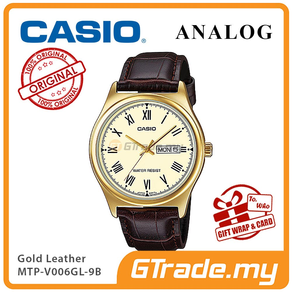 CASIO STANDARD MTP-V006GL-9BV Analog Mens Watch | Gold Case Leather