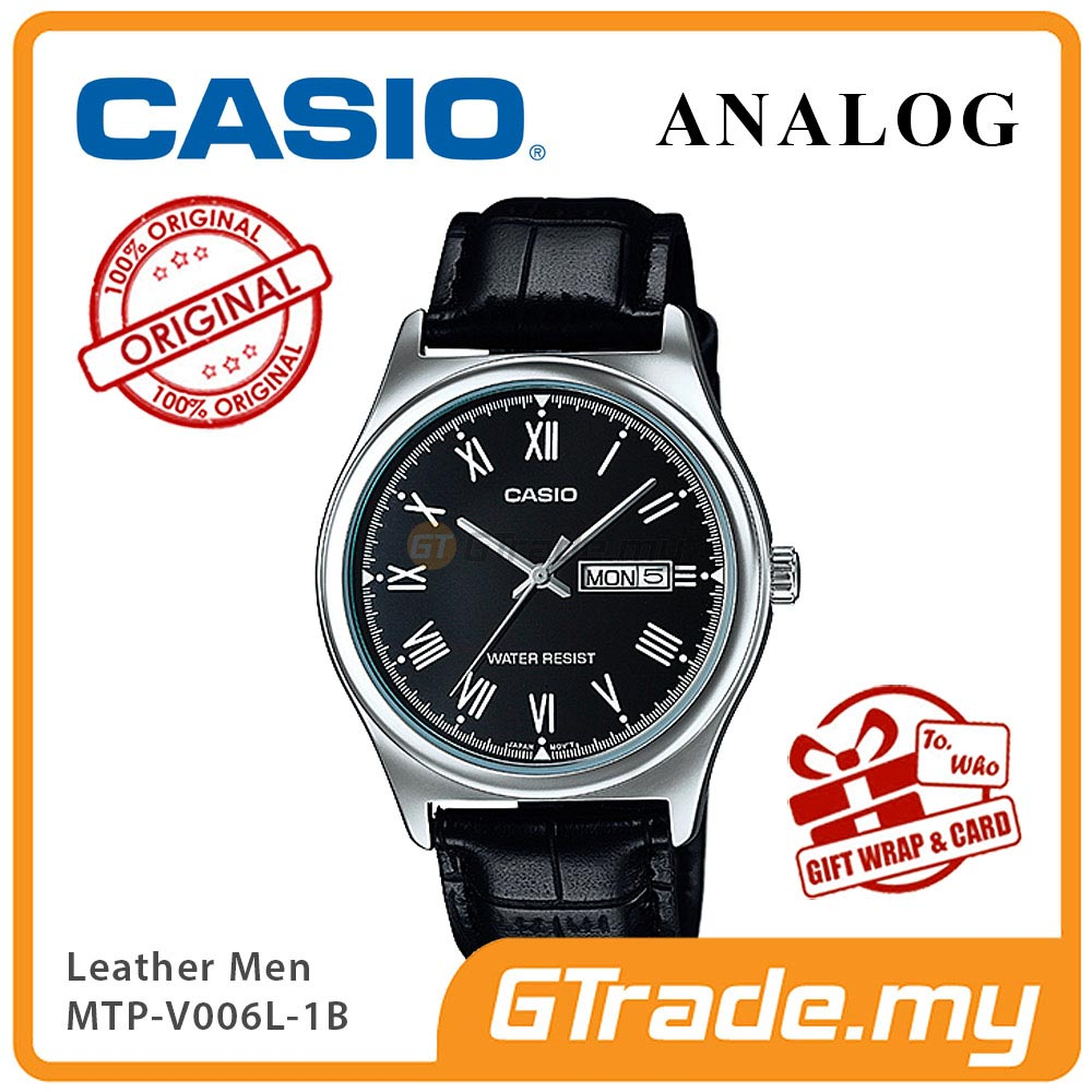 CASIO STANDARD MTP-V006L-1BV Analog Mens Watch | Leather Day Date