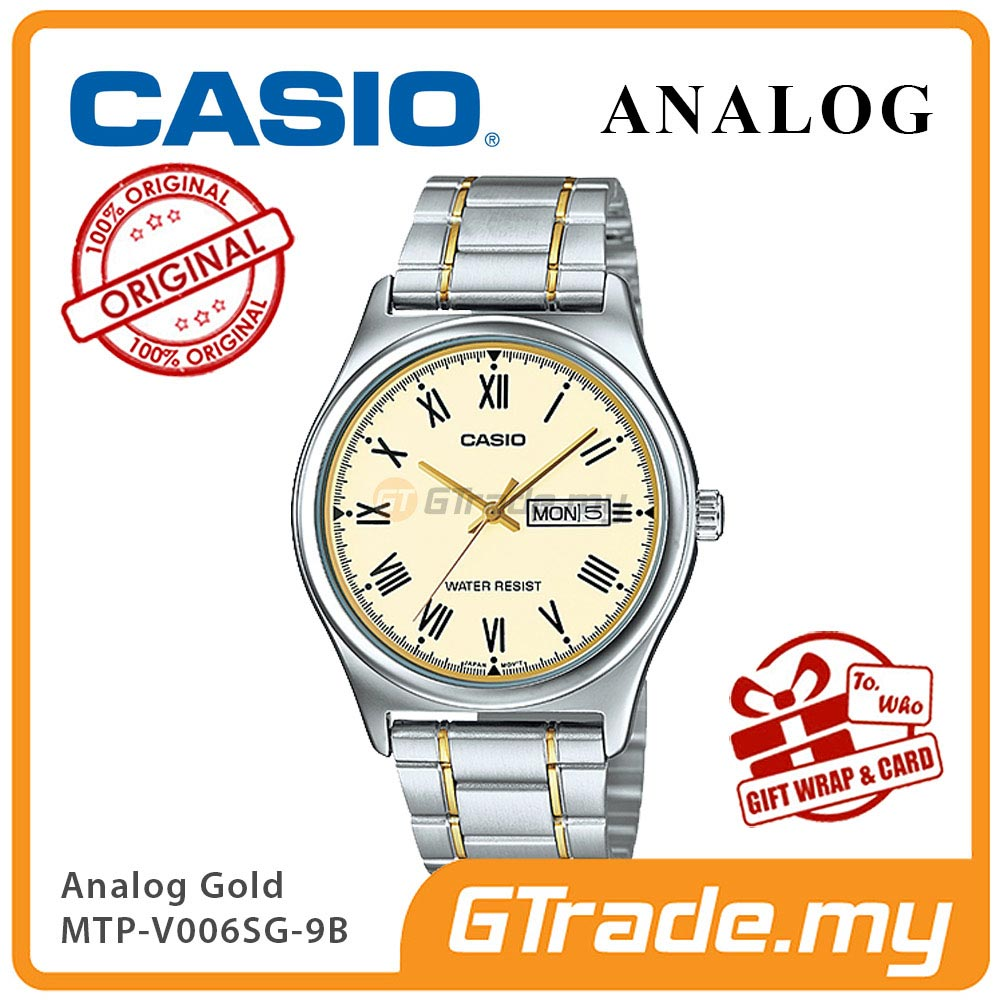 CASIO STANDARD MTP-V006SG-9BV Gold Analog Mens Watch |Day Date Display
