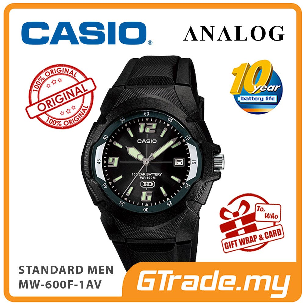 CASIO STANDARD MW-600F-1AV Analog Mens Watch | Resin 10 Yrs Batt.