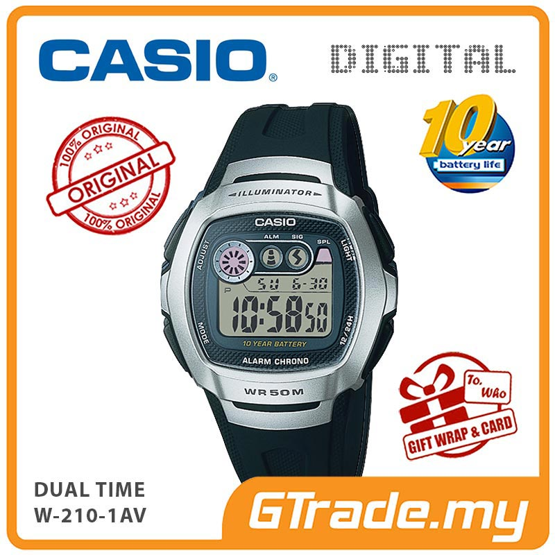 CASIO STANDARD W-210-1AV Digital Watch | 10 Yrs Batt. Dual Time